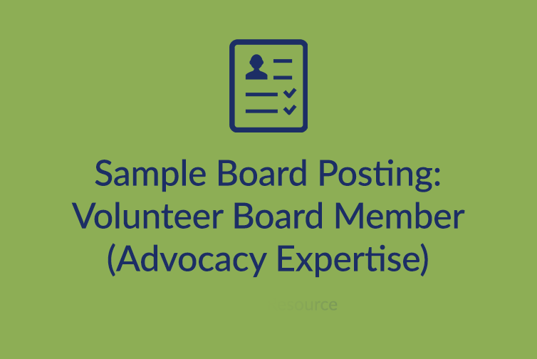Sample Board Posting: Volunteer Board Member